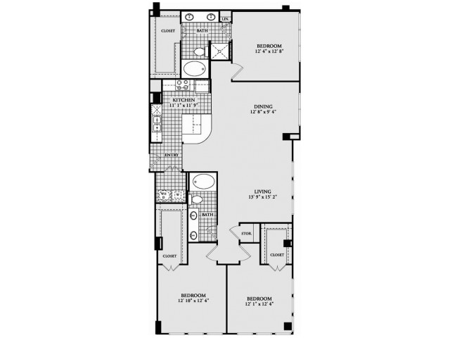 C1 Floor Plan | 3 Bedroom with 2 Bath | 1632 Square Feet | McKinney Uptown | Apartment Homes