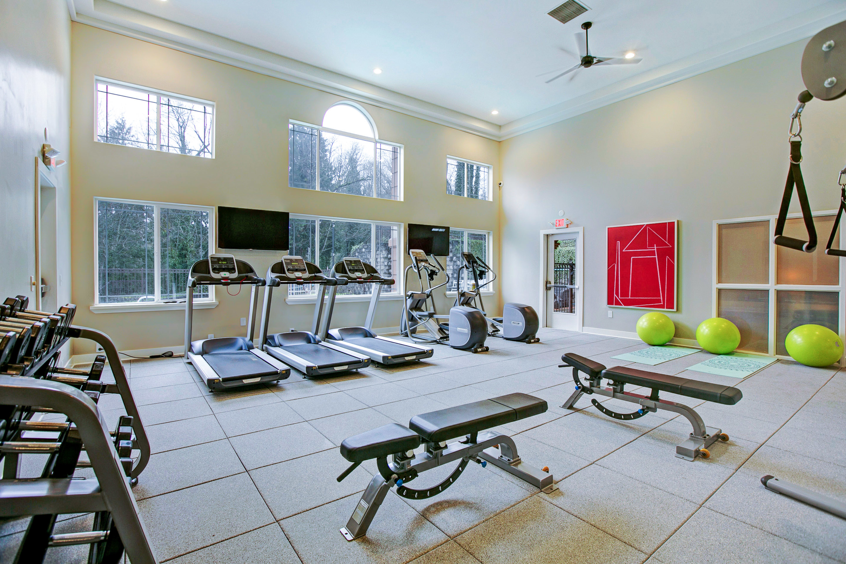 View of Fitness Center, Showing Cardio and Weight Equipment, Stability Balls, Ceiling Fan, and Wall of Windows  at Scott Mountain Apartments