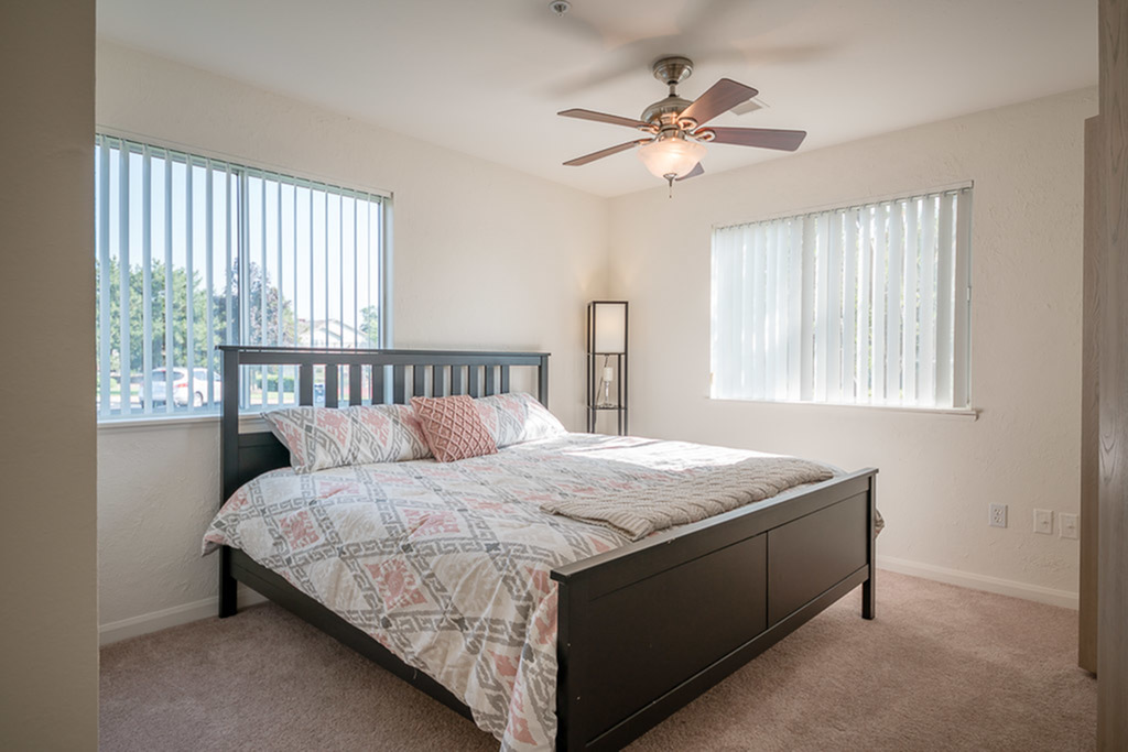 View of Furnished Bedroom, Showing Bed, Dual Windows, Ceiling Fan and Carpet at Clearview Apartments