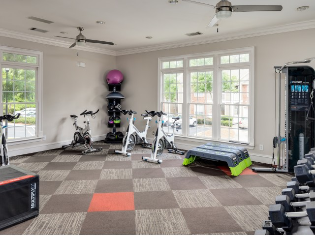 View of Fitness Center, Showing Stationary Bikes, Free Weights, and Exercise Balls at Retreat at Peachtree City Apartments