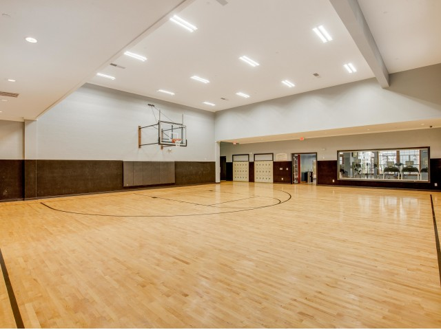 View of Basketball Court, Showing Wood Floors and Basketball Hoop at Cottonwood Ridgeview Apartments