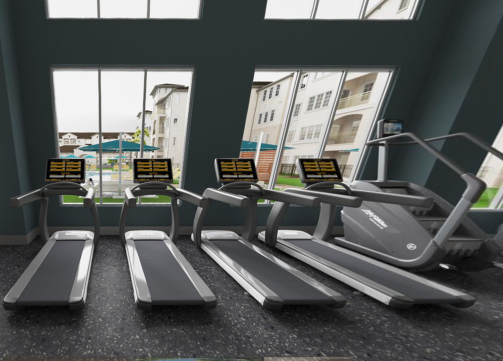 View of Resident Fitness Club Cardio Area, Showing Treadmills with Floor to Ceiling Windows and Courtyard Views at Murano at Three Oaks Apartments