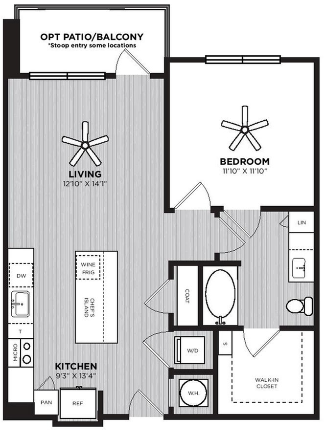 Beehive Floor Plan | 1 Bedroom with 1 Bath | 759 Square Feet | Alexan Optimist Park | Apartment Homes