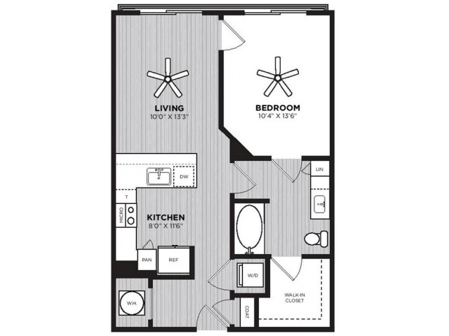 Bootlegger Floor Plan | 1 Bedroom with 1 Bath | 670 Square Feet | Alexan Optimist Park | Apartment Homes