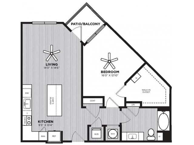 Calliope Floor Plan | 1 Bedroom with 1 Bath | 873 Square Feet | Alexan Optimist Park | Apartment Homes