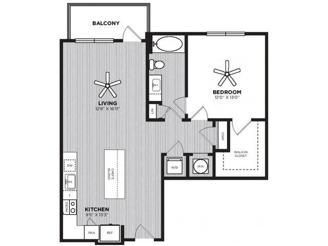 Chariot Floor Plan | 1 Bedroom with 1 Bath | 866 Square Feet | Alexan Optimist Park | Apartment Homes