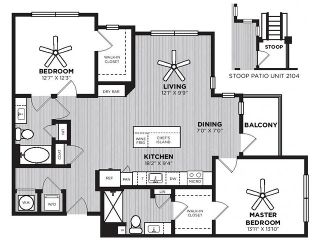 Conductor Floor Plan | 2 Bedroom with 2 Bath | 1252 Square Feet | Alexan Optimist Park | Apartment Homes