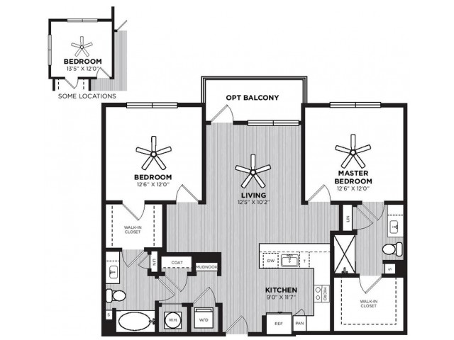 Cupola Floor Plan | 2 Bedroom with 2 Bath | 1151 Square Feet | Alexan Optimist Park | Apartment Homes