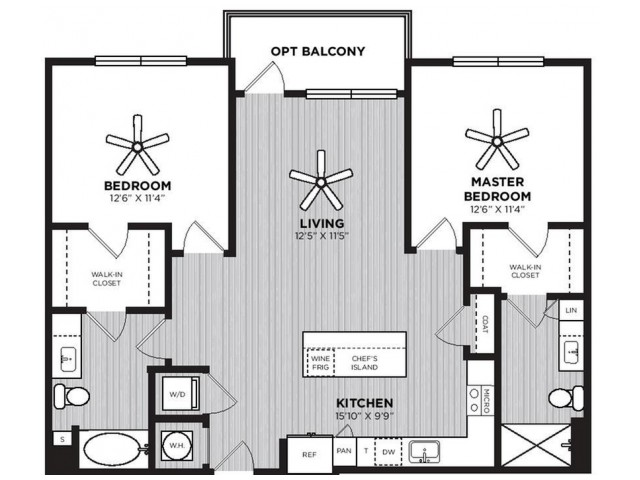 Highball Floor Plan | 2 Bedroom with 2 Bath | 1138 Square Feet | Alexan Optimist Park | Apartment Homes