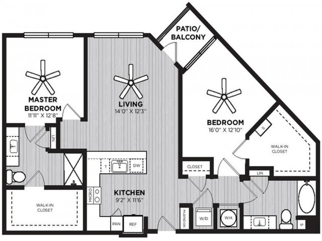 Peddler Floor Plan | 2 Bedroom with 2 Bath | 1242 Square Feet | Alexan Optimist Park | Apartment Homes