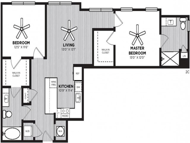 Hotshot Floor Plan | 2 Bedroom with 2 Bath | 1086 Square Feet | Alexan Optimist Park | Apartment Homes