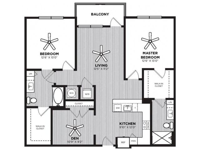 Westinghouse Floor Plan | 2 Bedroom with 2 Bath | 1293 Square Feet | Alexan Optimist Park | Apartment Homes