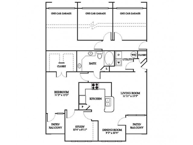 C2 Renovated Floor Plan | 1 Bedroom with 1 Bath | 1032 Square Feet | The Raveneaux | Apartment Homes