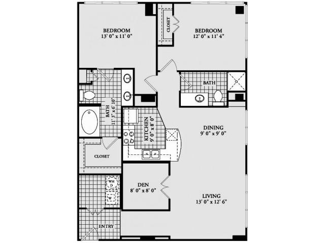 B6 Floor Plan | 2 Bedroom with 2 Bath | 1180 Square Feet | McKinney Uptown | Apartment Homes