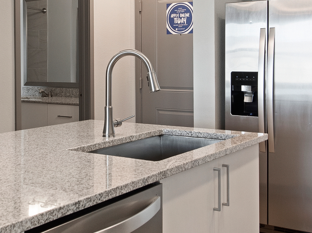 Enjoy Our Under-Mount Sinks, With View of Countertop with Stainless Steel Sink and Refridgerator in the background at Murano at Three Oaks Apartments