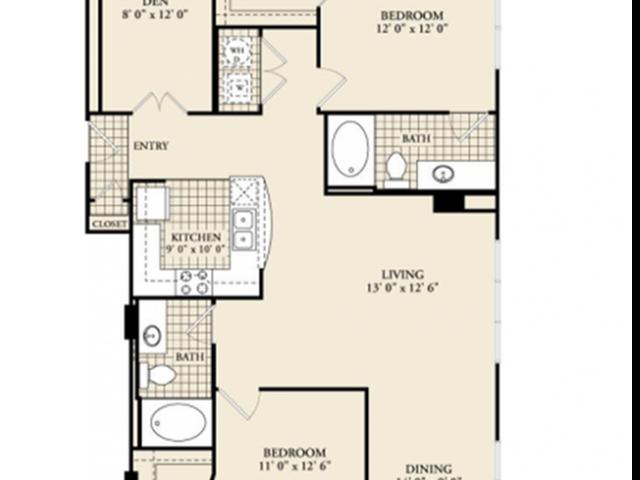 B9 Floor Plan | 2 Bedroom with 2 Bath | 1301 Square Feet | McKinney Uptown | Apartment Homes