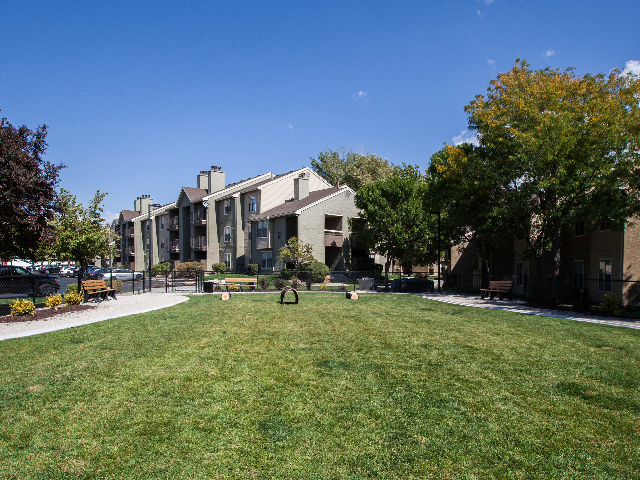 View of Cottonwood Apartment\'s Private Dog Park located in Salt Lake City, UT