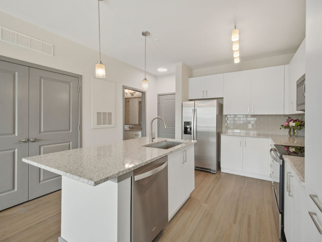Enjoy Our Wood Plank Style Flooring, With View of Wood Plank Style Flooring and Kitchen Island and Appliances at Murano at Three Oaks Apartments