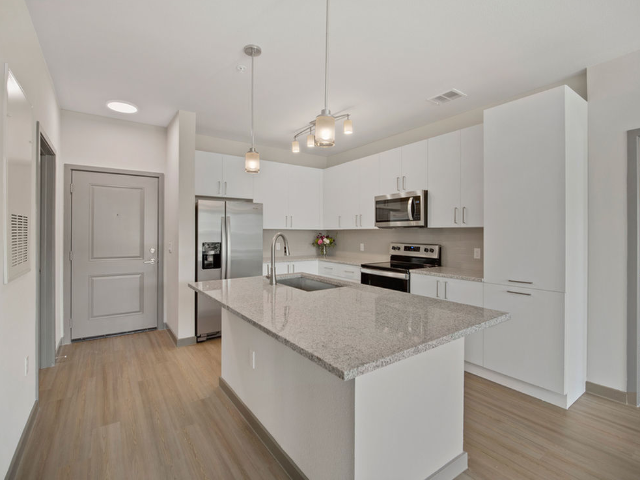 Enjoy Our Stainless Appliance Package, With View of Refridgerator, Microwave, Dishwasher, and Oven in a Kitchen at Murano at Three Oaks Apartments