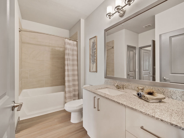 Enjoy Our Soaking Tub, With View of Bathroom Vanity, Toliet, and Soaking Tub at Murano at Three Oaks Apartments
