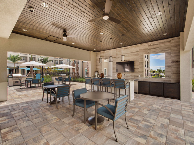 View of Outdoor Pavilion with Seating and Grills in the background at Murano at Three Oaks Apartments