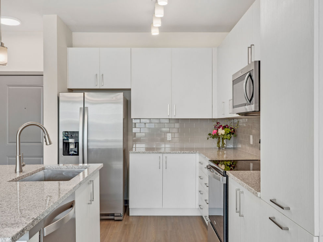 Enjoy Our Custom Cabinetry, With View of Cabinets in the Kitchen area with Kitchen Appliances at Murano at Three Oaks Apartments
