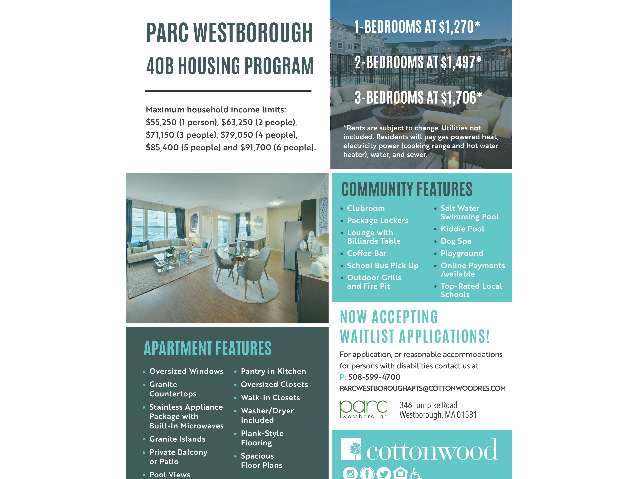 Flyer showing 40B housing rates