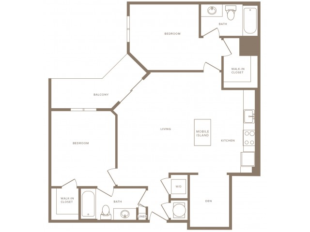 1055 square foot two bedroom two bath with den apartment floorplan image