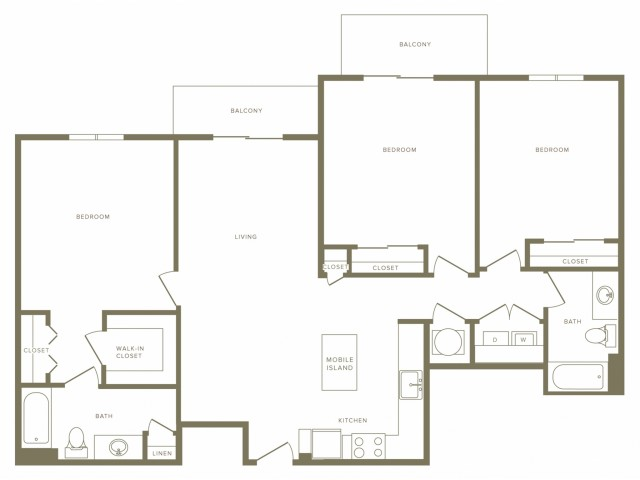 1385 square foot three bedroom two bath apartment floorplan image