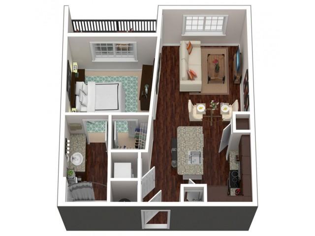 612 square foot one bedroom one bath apartment floorplan 3D image