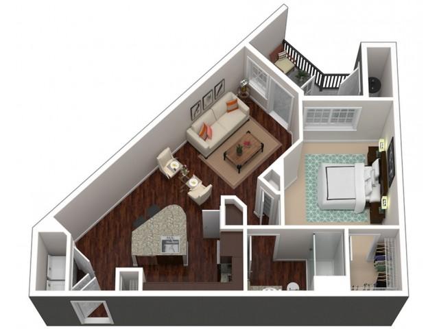 778 square foot one bedroom one bath apartment floorplan 3D image