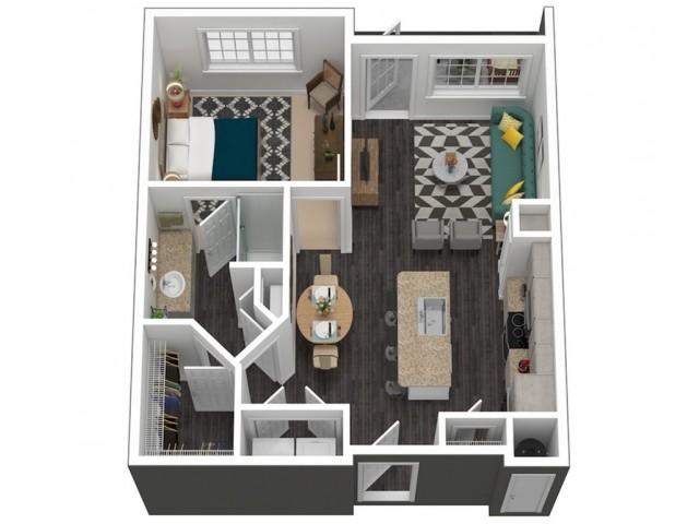 774 square foot one bedroom one bath apartment floorplan 3D image