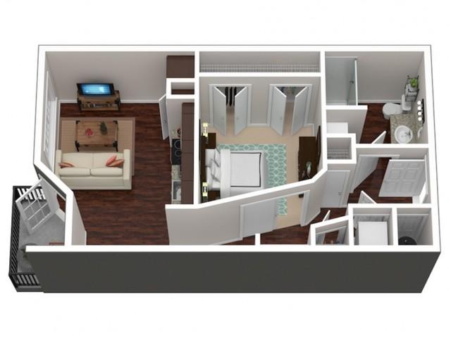 560 square foot studio one bath floor plan 3D image