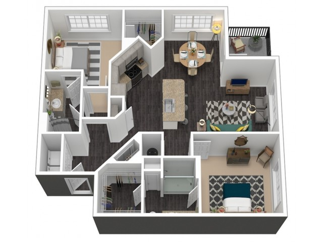 1228 square foot two bedroom two bath apartment floorplan 3D image