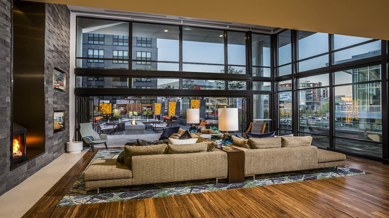 Spacious Resident Clubhouse with Lounge and Fire Place   Modera Mosaic