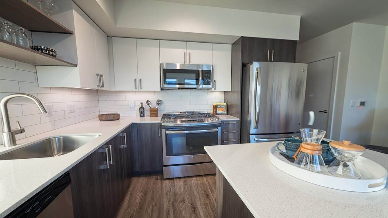 Custom cabinetry with chrome pulls