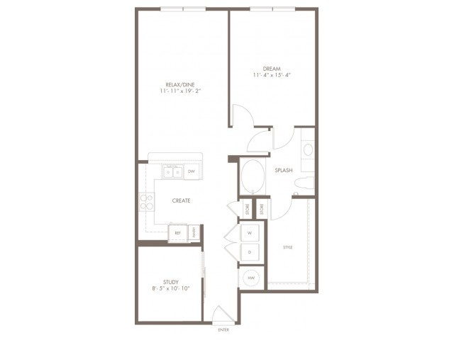 998 square foot one bedroom one bath with den apartment floorplan image