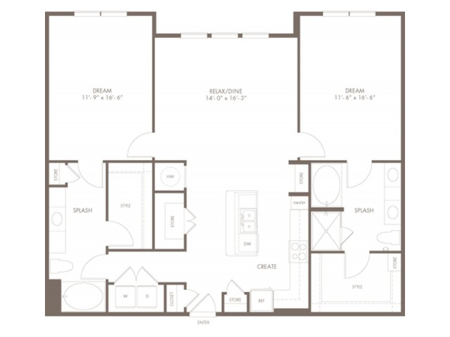 1385 square foot two bedroom two bath apartment floorplan image