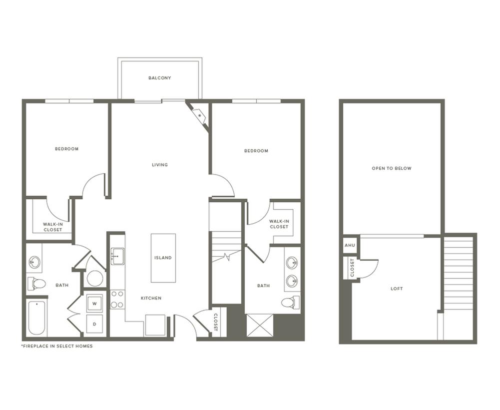 2 Bdrm Floor Plan w Loft | Modera Needham | Two Bedroom Apartments in Needham MA