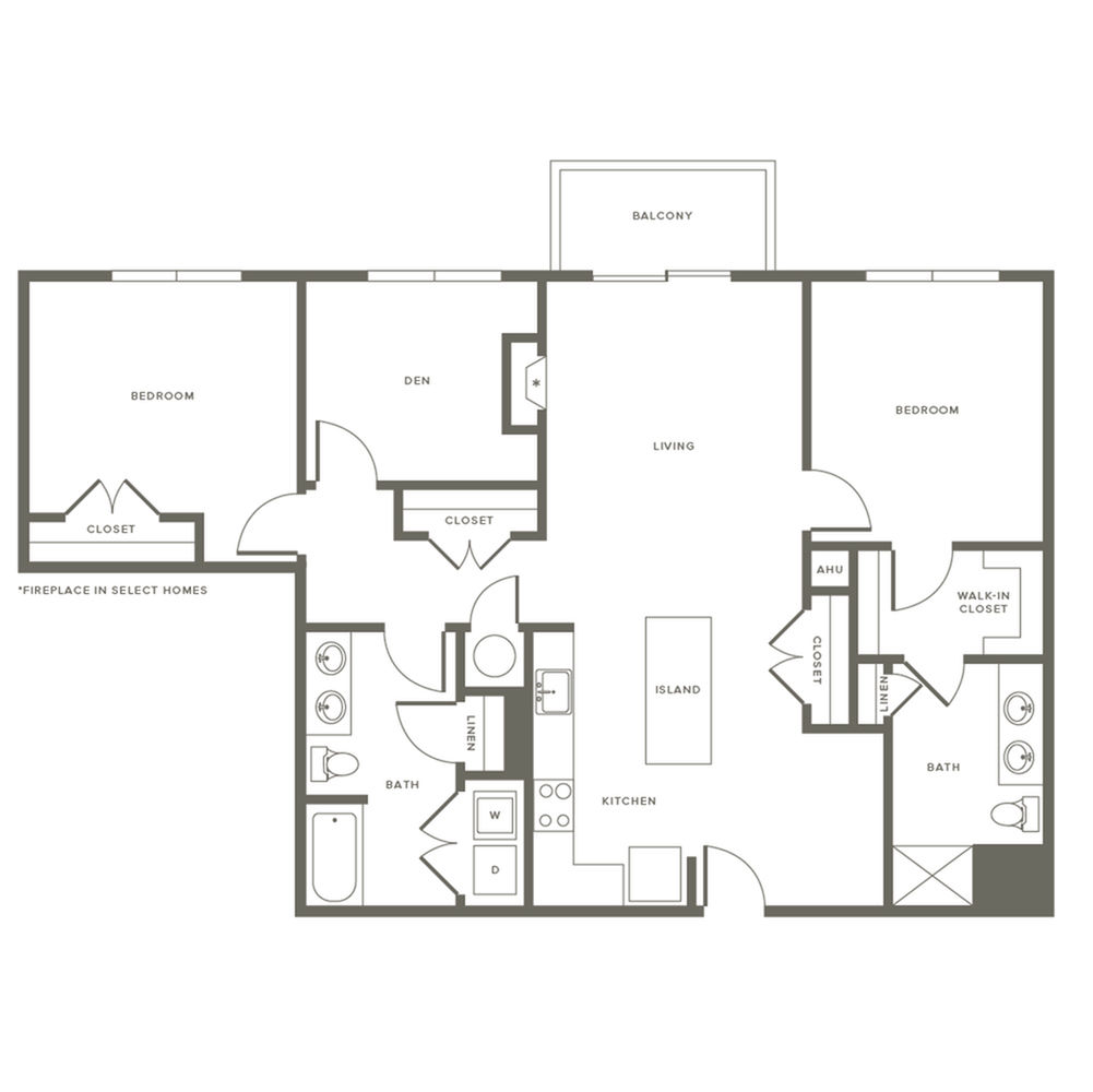 Floor Plan B3D | Modera Needham | One Bedroom Apartments in Needham MA