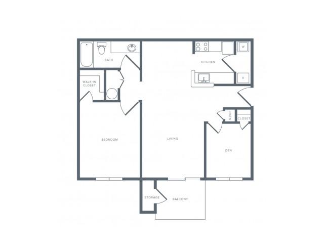 844 square foot renovated one bedroom one bath apartment floorplan image