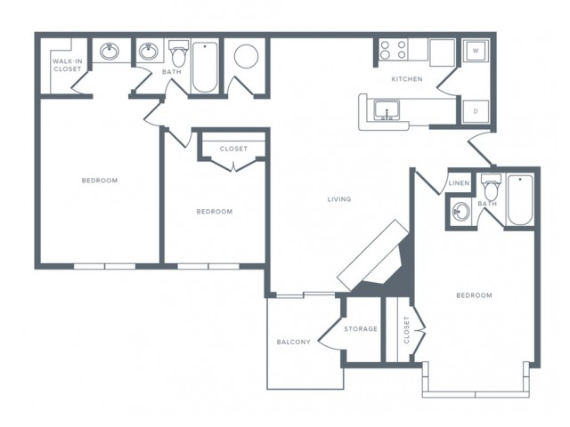 3 Bedroom Floor Plan | Columbia MD Studio Apartments | Alister Town Center Columbia