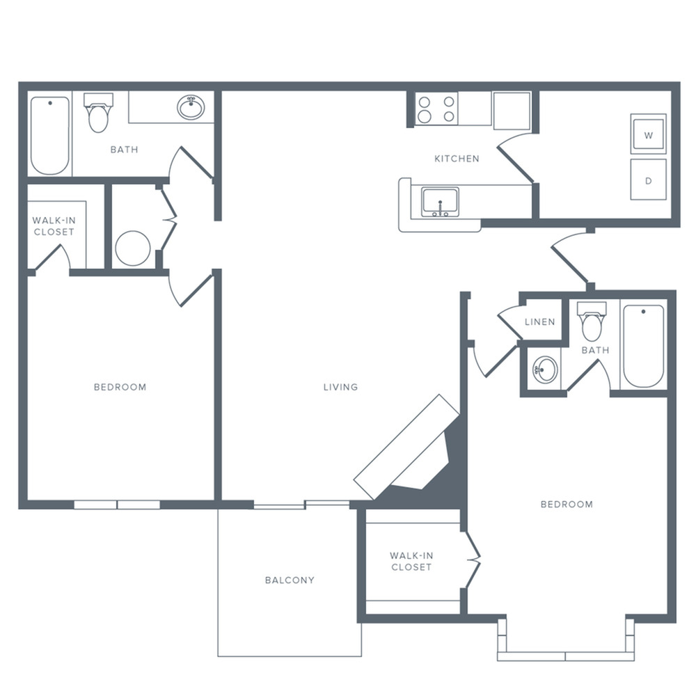 2 Bedroom Floor Plan | Apartments in Columbia MD | Alister Town Center Columbia