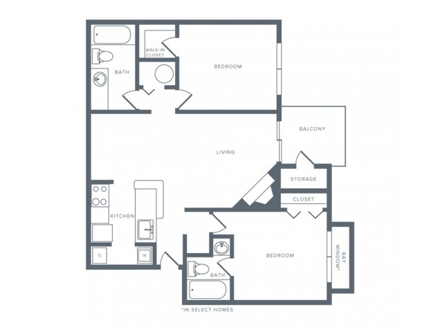 966 square foot two bedroom two bath apartment floorplan image