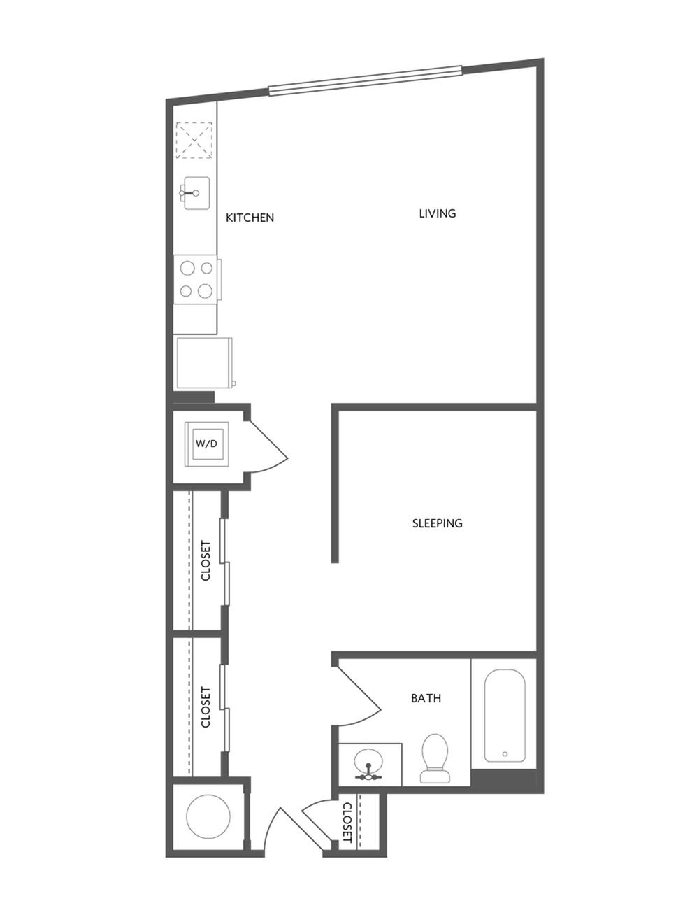 587 square foot studio one bath floor plan image