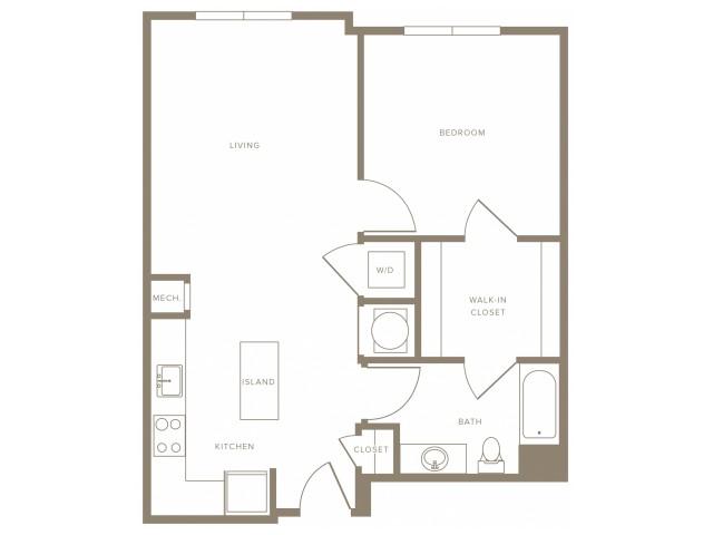 779 - 861 square foot one bedroom with walk-thru closet one bath apartment floorplan image