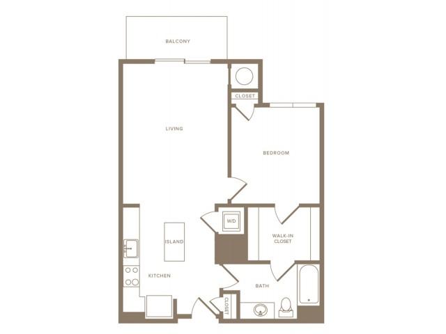 757 square foot one bedroom one bath apartment floorplan image