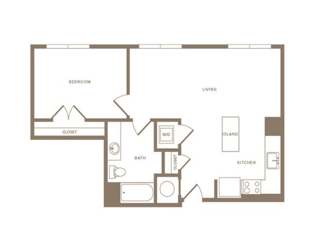 726 square foot one bedroom one bath apartment floorplan image