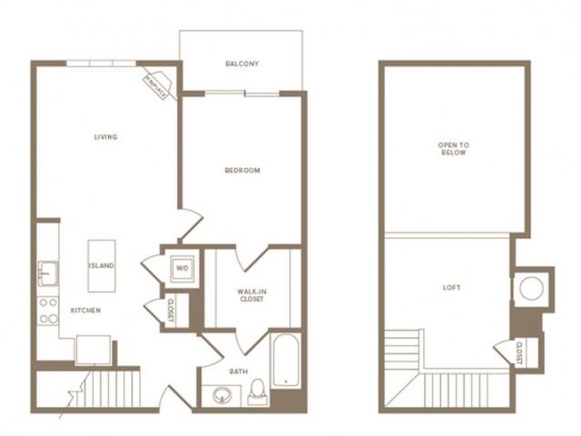 898 to 925 square foot one bedroom one bath loft apartment floorplan image