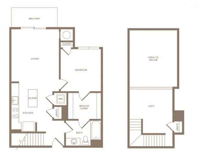 887 square foot one bedroom one bath loft apartment floorplan image